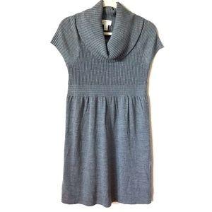 Ann Taylor gray wool ribbed sweater dress